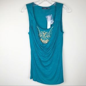 Apt. 9 teal embellished sleeveless top (NWT)
